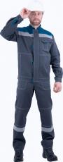 Костюм РАЦИОНАЛИЗАТОР, серый-бирюза, 100% х/б, (куртка, полукомбинезон)