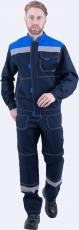 Костюм РАЦИОНАЛИЗАТОР, т.синий-василёк, 100% х/б, (куртка, брюки)
